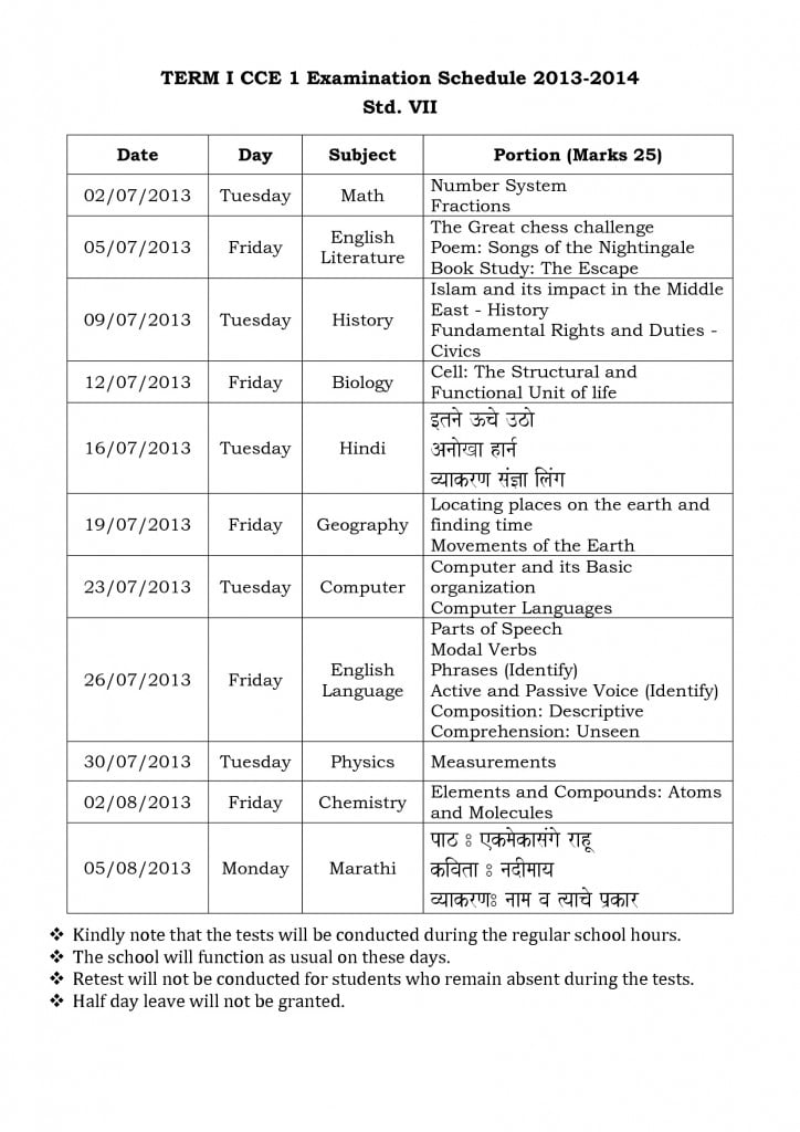 Term I CCE I Examination Schedule for Std: VI- VIII