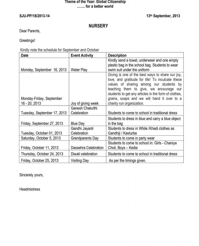 Pre-Primary Circular for September N October