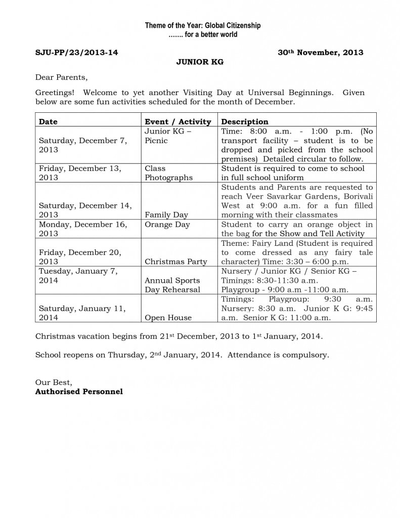 Pre-primary circular for December