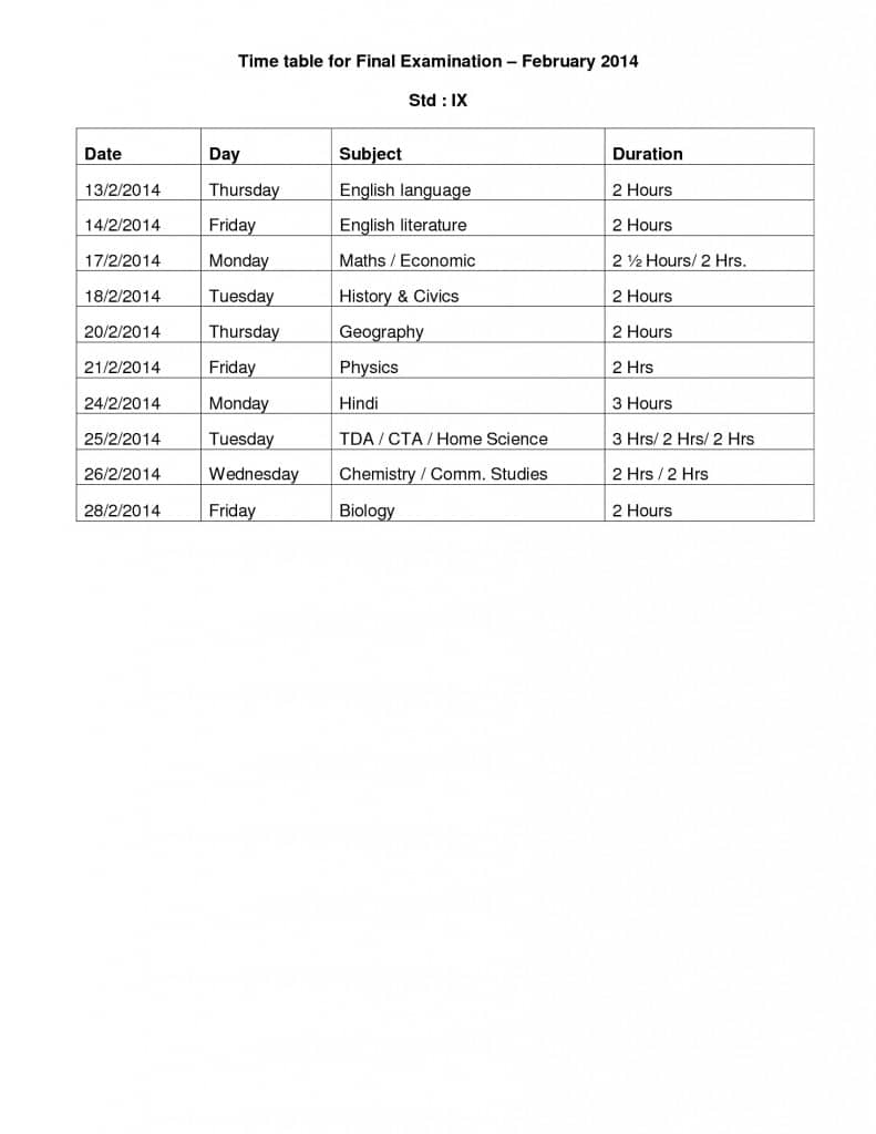 Time Table for final Examination February 2014: Std. IX