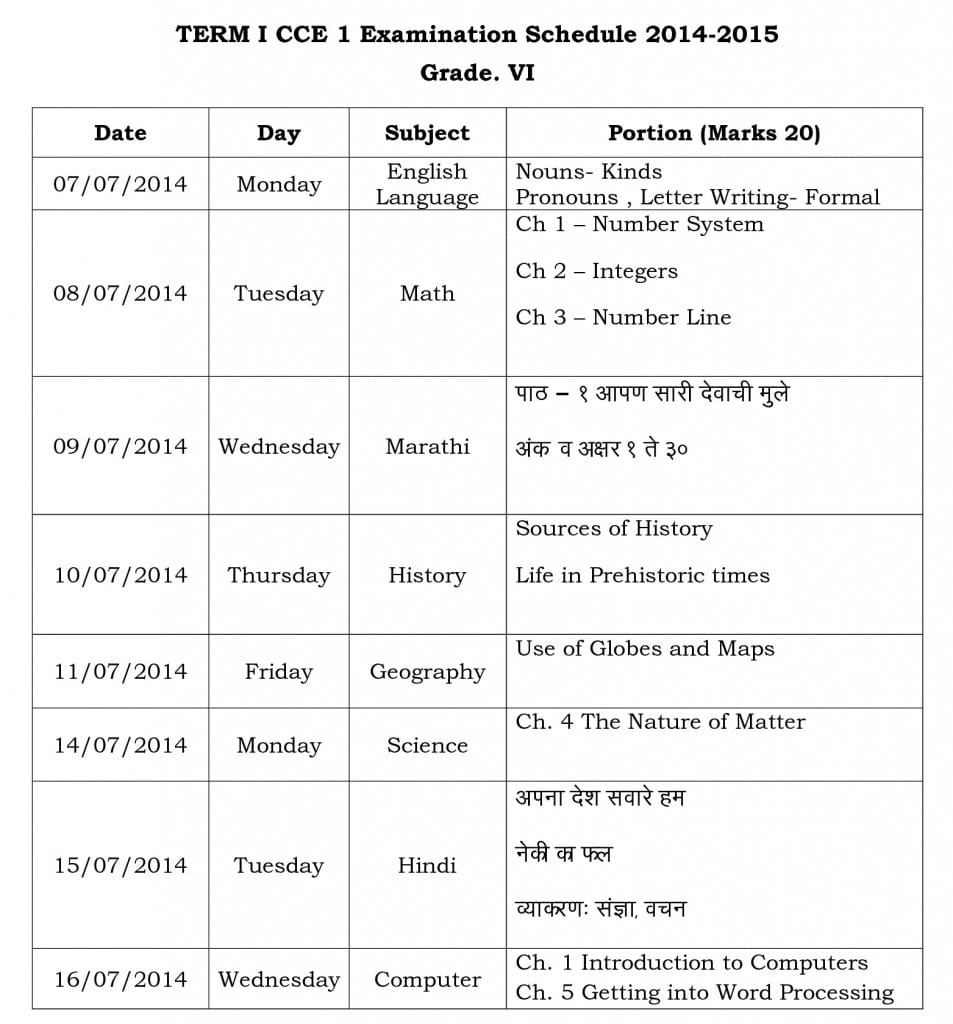 Term 1CCE Timetable