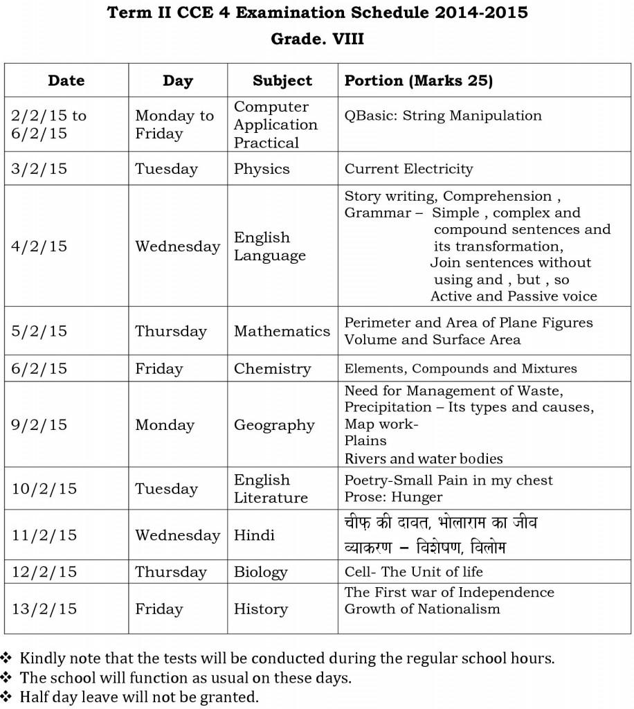 Term – II – CCE 4 – Schedule 2014 – 15