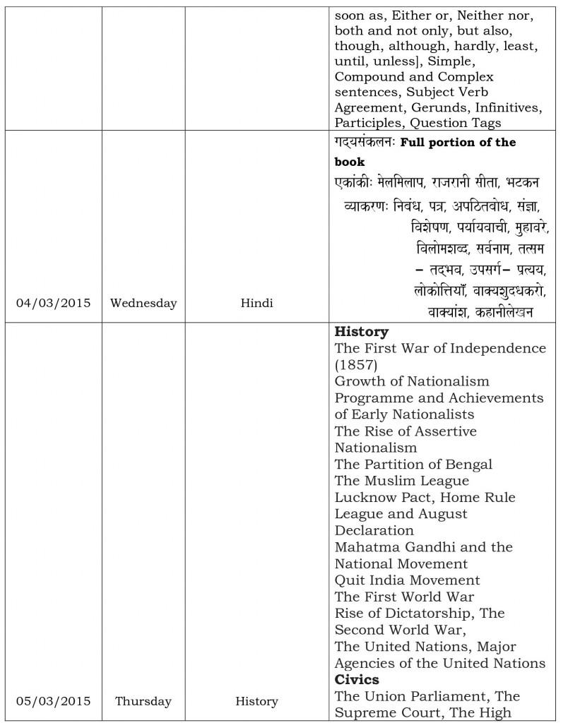 Final Examination Schedule
