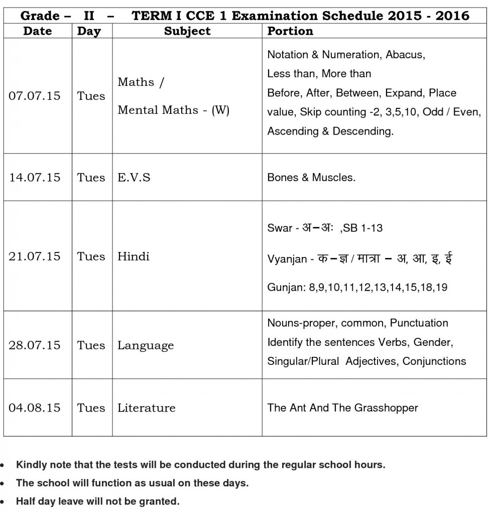 TERM I CCE 1 Examination Schedule 2015 – 2016