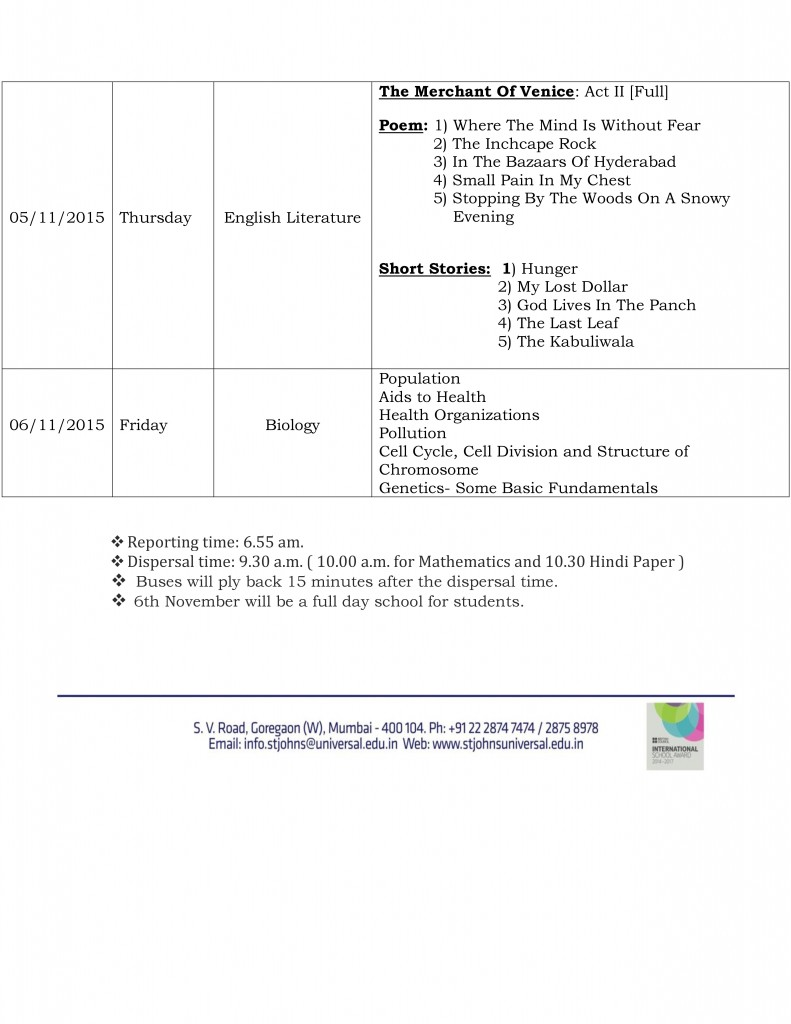 Semester I Examination Schedule