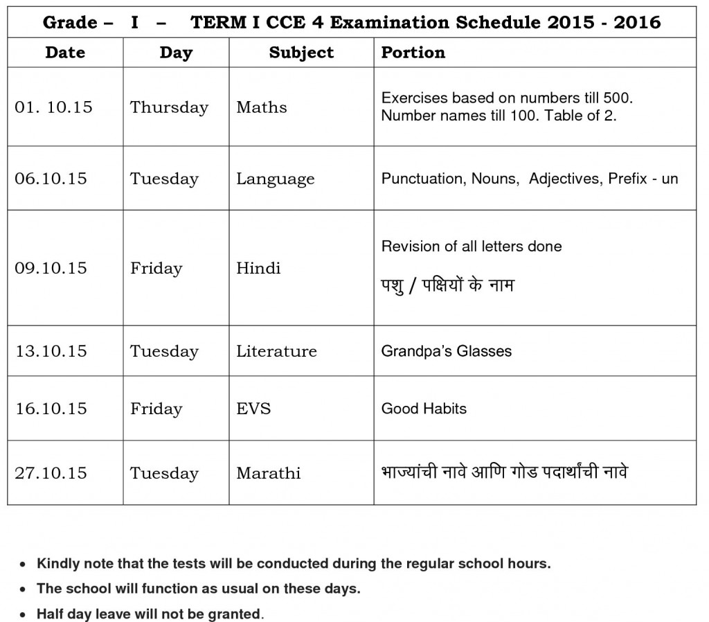 Term I CCE 4 Time table