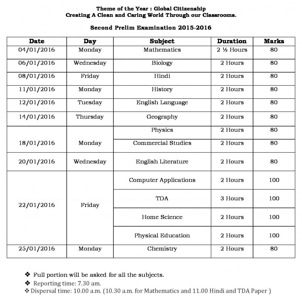 Schedule for Prelim II