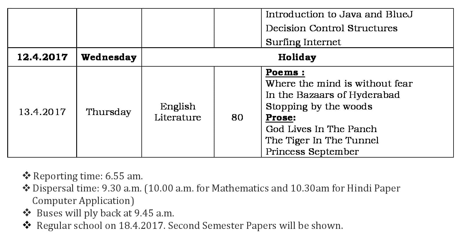 Second Semester Examination Schedule