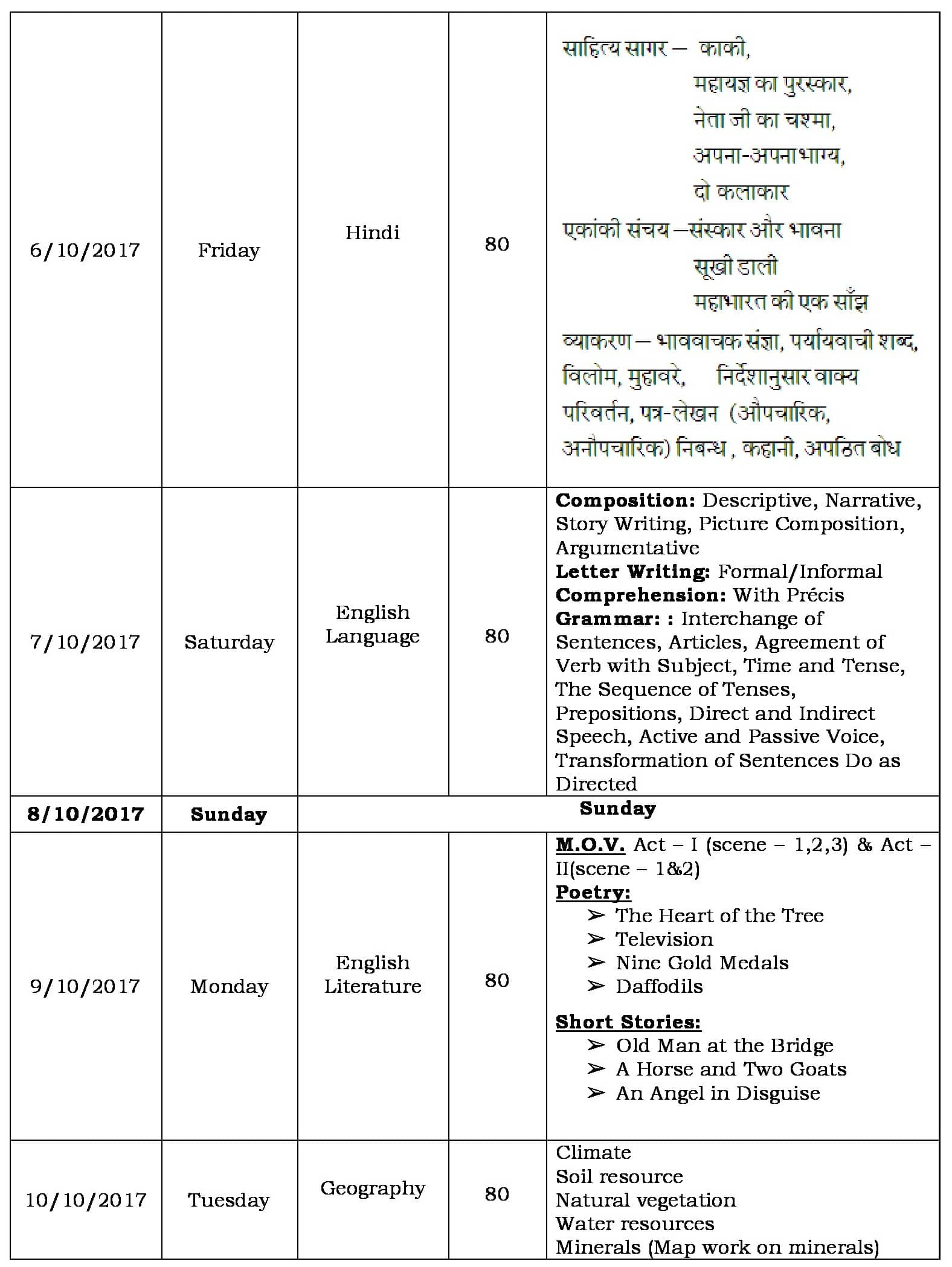 Schedule for Semester 1 Examinations 2017-18