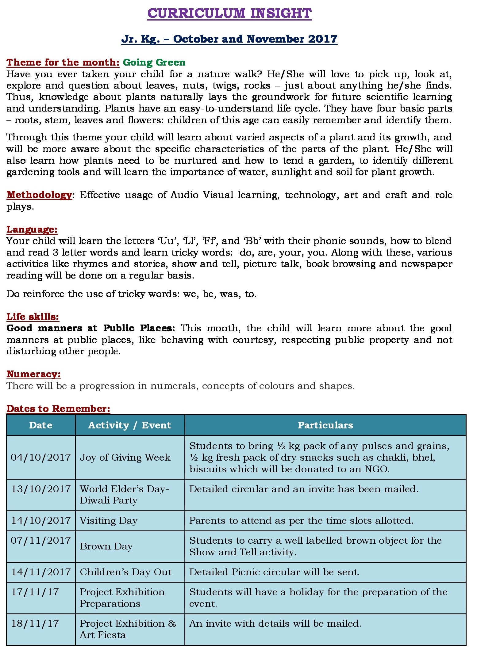 Oct- Nov Curriculum Insight