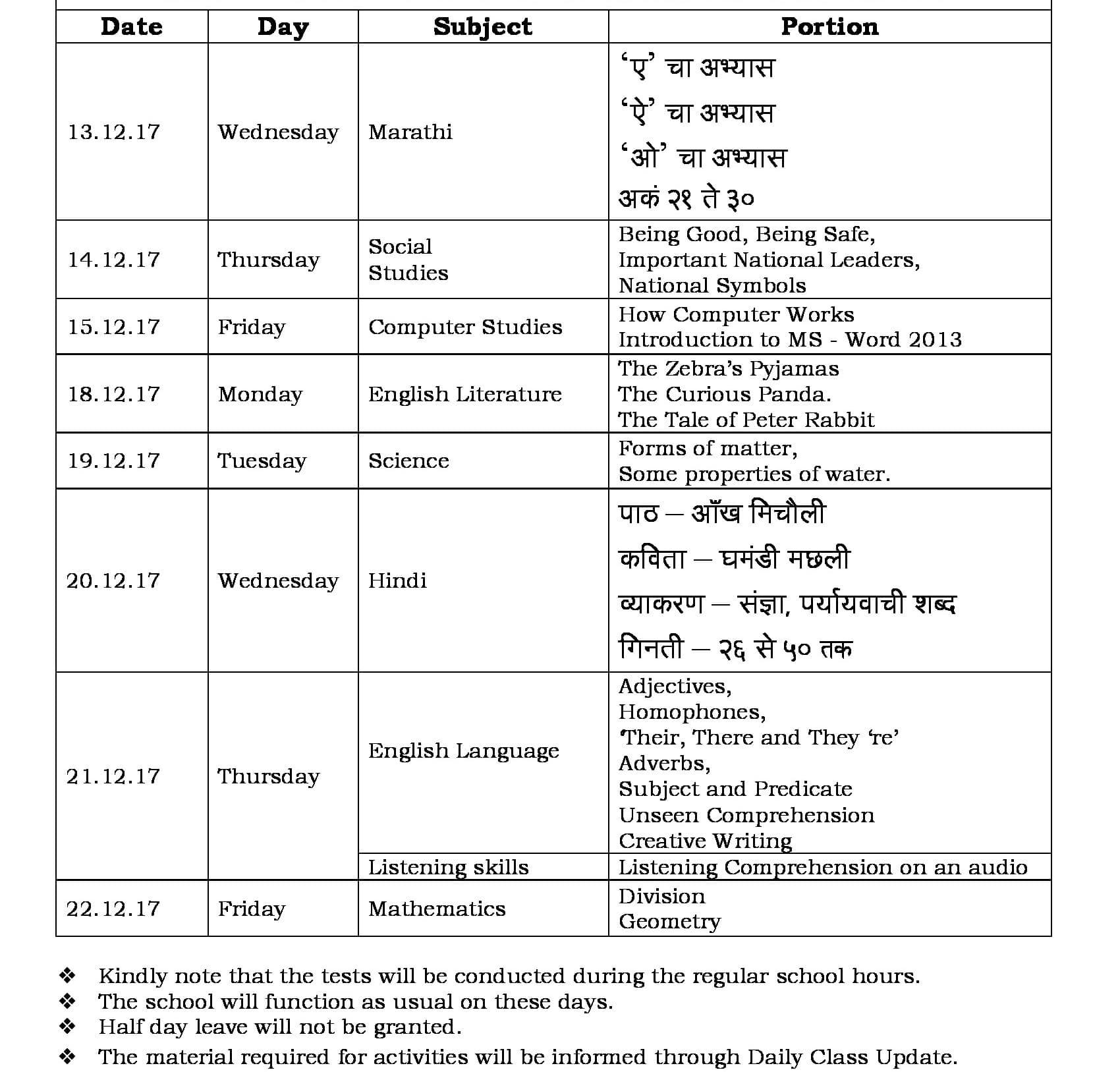 Term II FA-3 Schedule