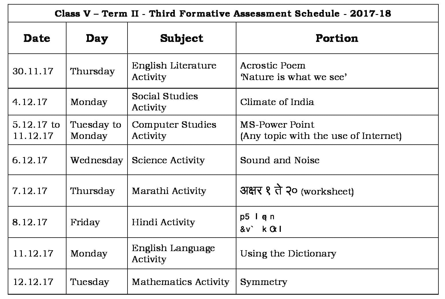 Term II FA-3 Schedule