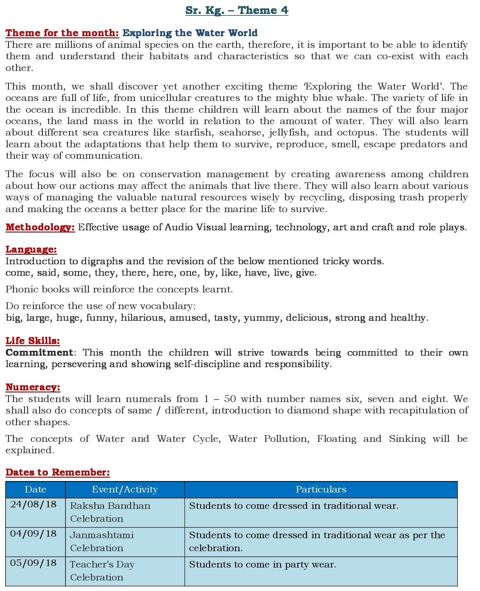 Theme 4- Curriculum Insight- September
