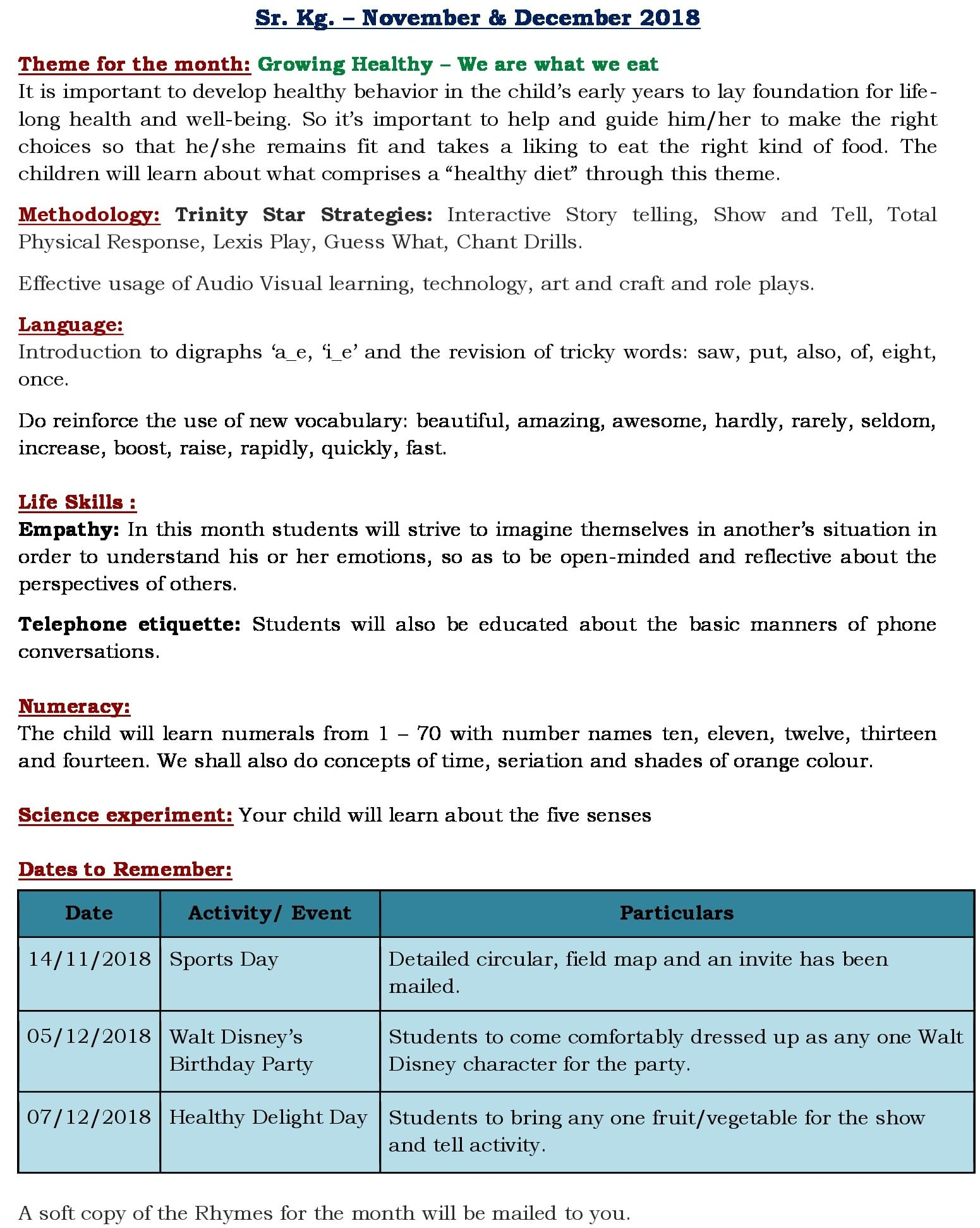 Theme 6 – Curriculum Insight 2018-19