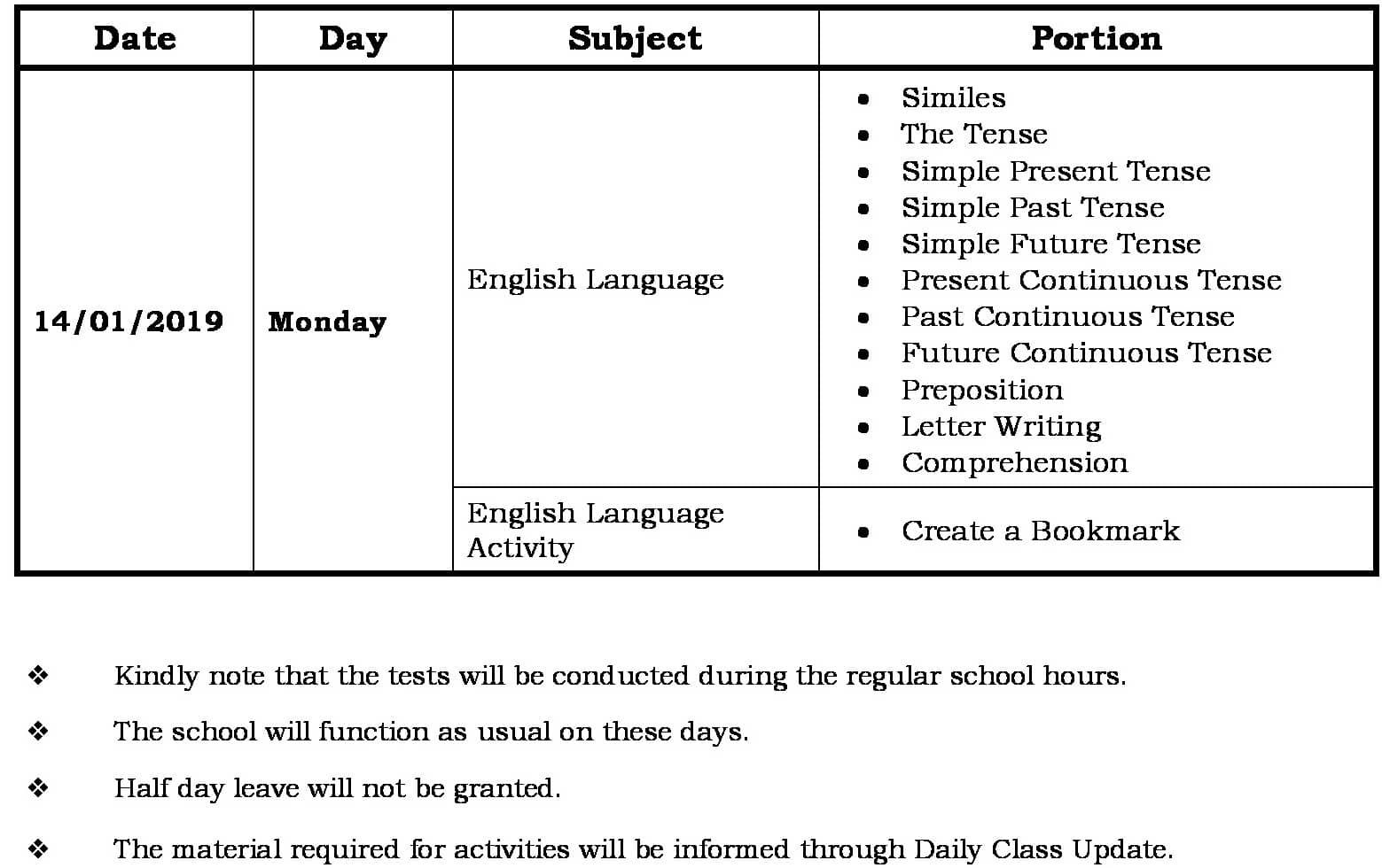 FA3 Portion and Schedule
