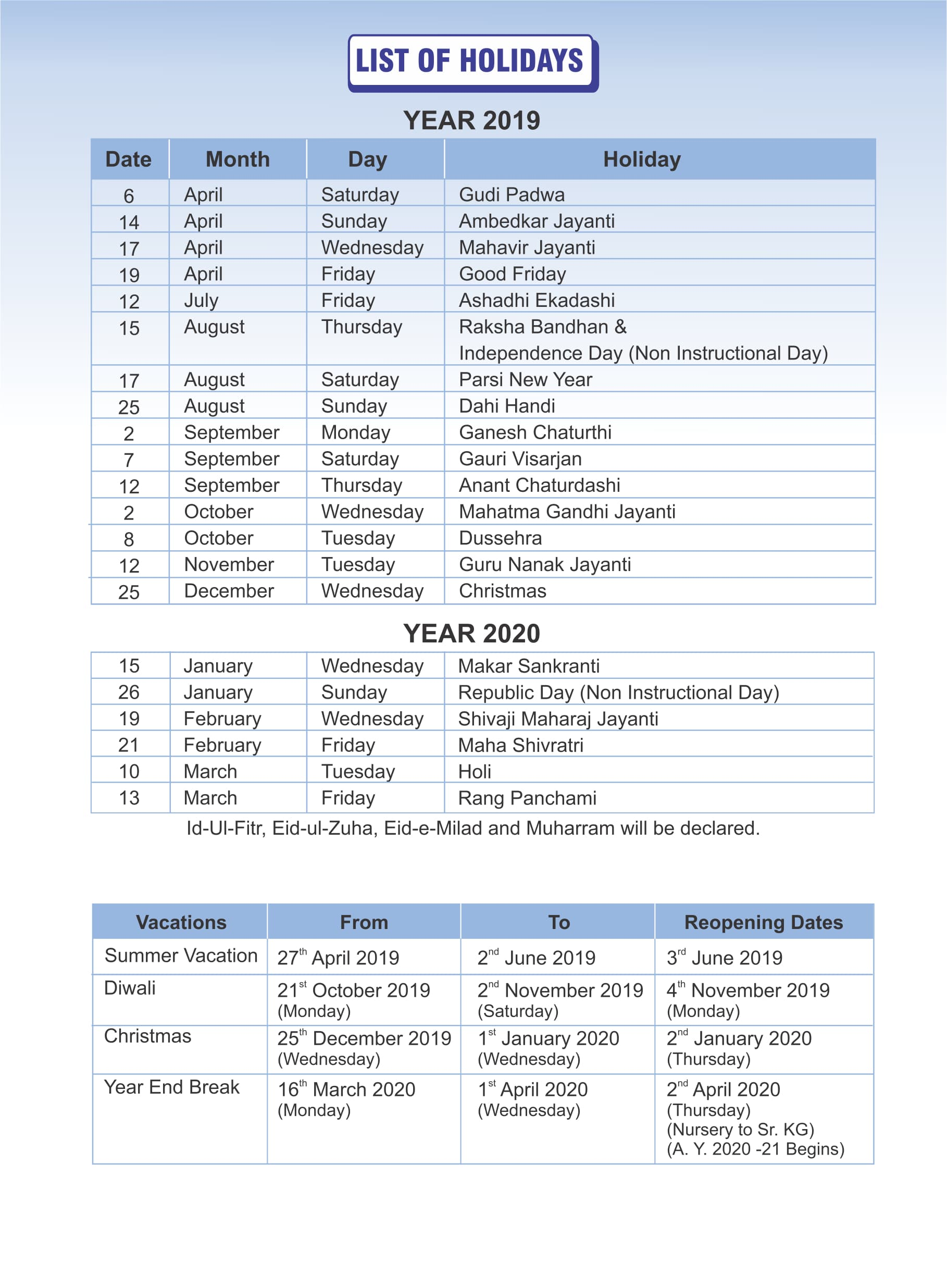 Pre-Primary List of Holidays